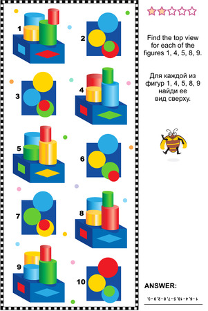 Educational visual math puzzle or picture riddle: Find the top view for every construction. Answer included.