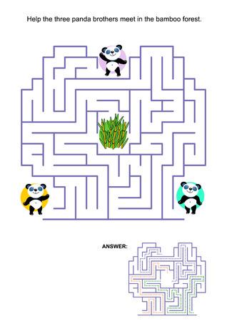 Laberinto juego para los niños: Ayuda a los tres hermanos de oso panda se reúnen en el bosque de bambú en medio del laberinto. Respuesta incluido.