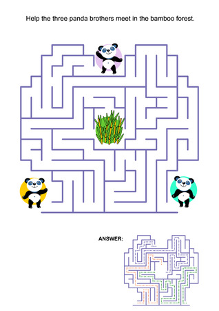 Maze game for kids: Help the three panda bear brothers to meet in the bamboo forest in the middle of the maze. Answer included. Illustration