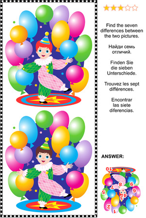 find: Picture puzzle: Find the seven differences between the two pictures of little circus clown boy performing with colorful balloons. Answer included. Illustration