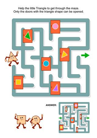 matematica: Educaci�n acertijo matem�tico: Ayuda al peque�o tri�ngulo de conseguir a trav�s del laberinto. Solamente las puertas con forma de tri�ngulo se pueden abrir. Respuesta incluido.