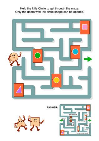 matematicas: Educación acertijo matemático: Ayuda al pequeño círculo de conseguir a través del laberinto. Solamente las puertas con forma de círculo se pueden abrir. Respuesta incluido.