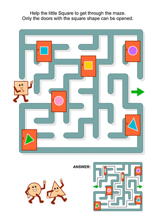 locked the door: Educational math puzzle: Help the little square to get through the maze. Only the doors with square shape can be opened. Answer included. Illustration