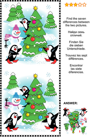 Christmas winter or New Year themed visual puzzle: Find the seven differences between the two pictures of christmas tree snowman penguins. Answer included. Illustration