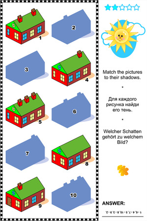 Visual puzzle: Match the pictures of country houses to their shadows. Answer included.
