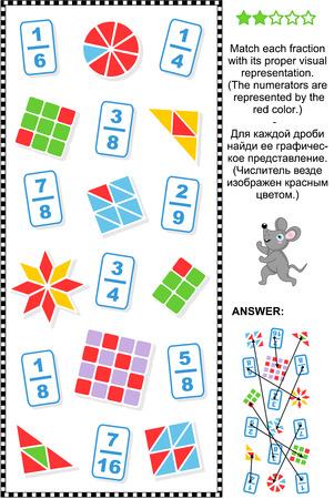 Acertijo matemático educativo: Coincidir cada fracción a su representación visual adecuada. Respuesta incluido. Vectores