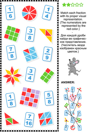 math: Educational math puzzle: Match each fraction to its proper visual representation.  Answer included.