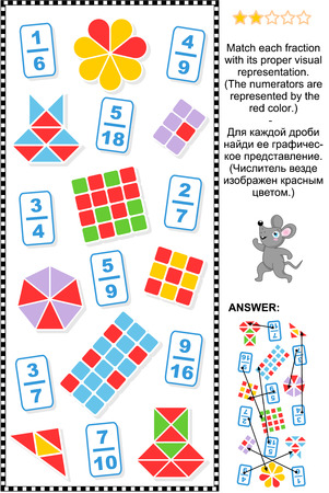 Educational math puzzle: Match each fraction to its proper visual representation.  Answer included.