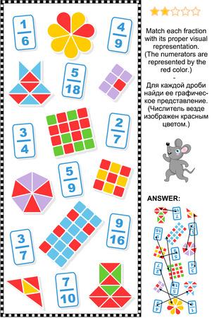 matematica: Acertijo matemático educativo: Coincidir cada fracción a su representación visual adecuada. Respuesta incluido. Vectores