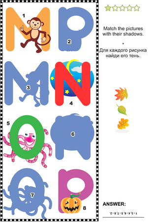 shadow match: Visual educational puzzle to learn with fun the letters of English alphabet: Match pictures of letters M (monkey), N (night), O (octopus), P (pumpkin) to their shadows. Answer included.