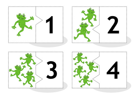 number of animals: Learn counting 2part puzzle cards to cut out and play frogs themed numbers 1  4