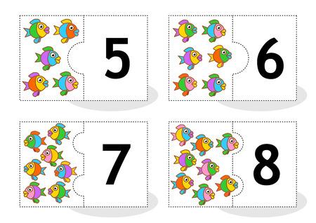 Aprenda contar las cartas rompecabezas 2part para cortar y jugar pescado números temáticos 5 8 Vectores