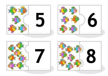 digits: Learn counting 2part puzzle cards to cut out and play fish themed numbers 5  8