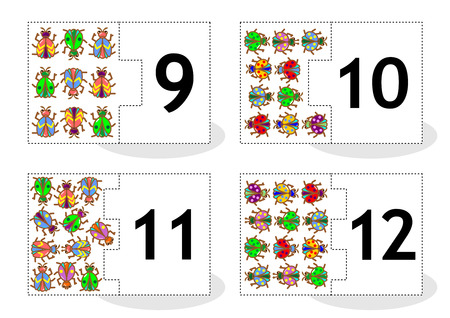 number of animals: Learn counting 2part puzzle cards to cut out and play bugs and beetles themed numbers 9  12