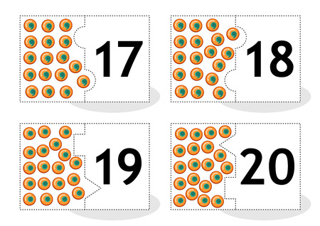 Learn counting 2part puzzle cards to cut out and play frog eggs themed numbers 17  20 Illustration