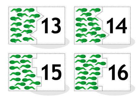 newt: Learn counting 2part puzzle cards to cut out and play frog newts and tadpoles themed numbers 13  16
