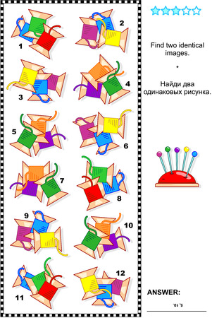 Visual puzzle: Find two identical pictures of colorful sewing spools. Answer included. Illustration