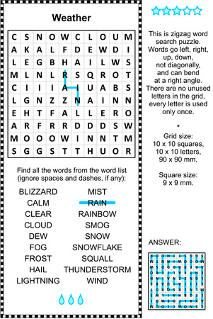 Weather themed word search puzzle. Answer included.