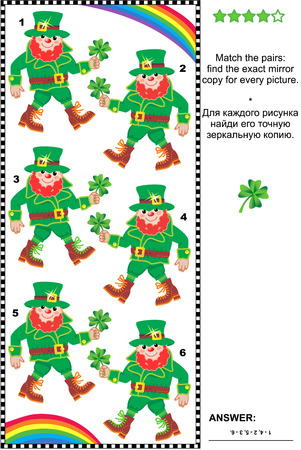 exact: Visual puzzle (suitable both for kids and adults): Match the pairs - find the exact mirror copy for every leprechaun image. Answer included.