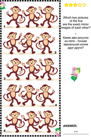 Visual logic puzzle: Which two pictures of the five monkey rows are the exact mirror images of each other? Answer included.