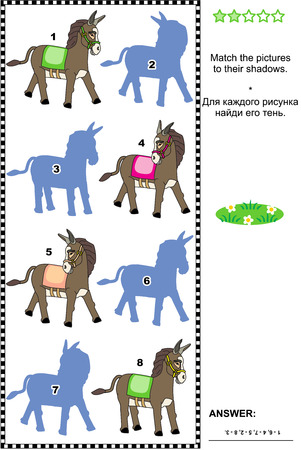 shadow match: Visual puzzle: Match the pictures of donkeys to their shadows. Answer included.