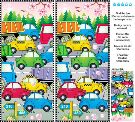 Spring or summer traffic jam find the differences picture puzzle Vector