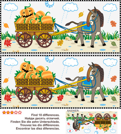 fall harvest: Halloween, autumn or harvest themed visual puzzle: Find the ten differences between the two pictures of donkey pulling a cart with pumpkins in the rainy fall day. Answer included. Illustration