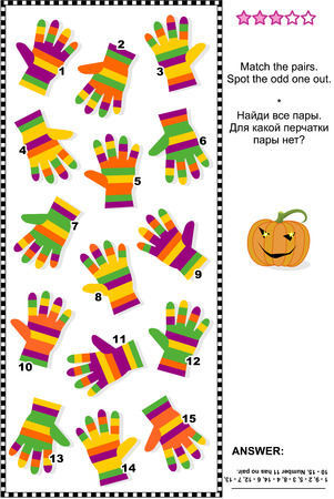 Visual logic puzzle (suitable both for kids and adults): Match the pairs of colorful striped gloves. Spot the odd one out. Answer included. 일러스트