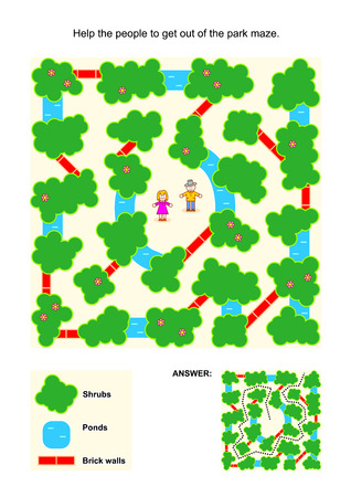 Maze game for children: Help the people to get out of the park maze. Avoid shrubs, ponds and brick walls. Answer included. Illustration