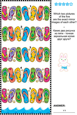 Visual logic puzzle: Which two pictures of the five flip-flops rows are the exact mirror images of each other Answer included. Ilustrace
