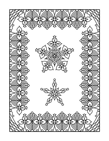Framed mandala coloring page for adults children ok, too Illustration