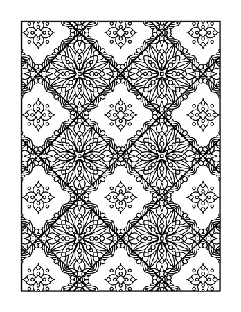 Coloring page for adults, or monochrome decorative background Illustration