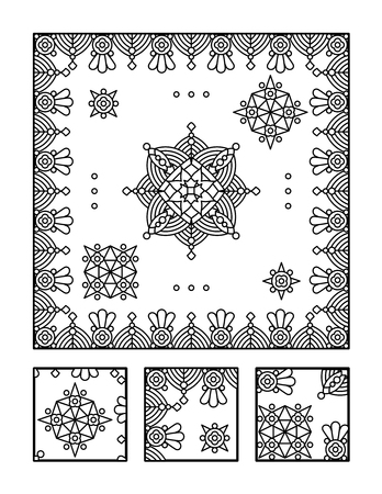 Framed mandala coloring page for adults children ok, too and visual puzzle. Puzzle directions: find the fragment that does not belong to the main picture. Answer: right.