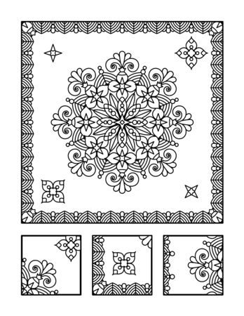 coloring sheets: Framed mandala coloring page for adults children ok, too and visual puzzle. Puzzle directions: find the fragment that does not belong to the main picture. Answer: right.