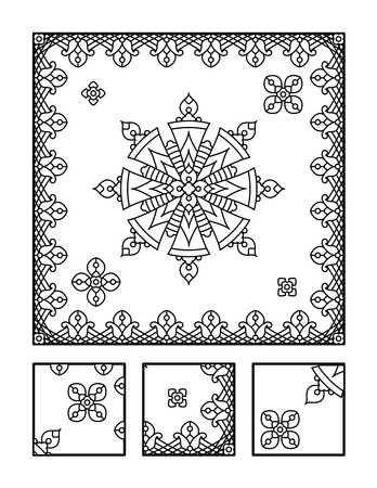 printable coloring pages: Framed mandala coloring page for adults children ok, too and visual puzzle. Puzzle directions: find the fragment that does not belong to the main picture. Answer: right.