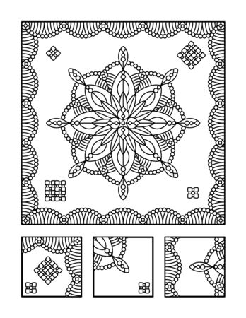 Framed mandala coloring page for adults children ok, too and visual puzzle. Puzzle directions: find the fragment that does not belong to the main picture. Answer: left.