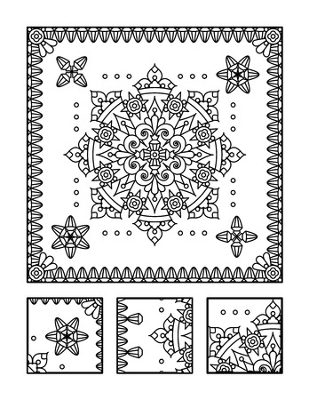 Framed mandala coloring page for adults children ok, too and visual puzzle. Puzzle directions: find the fragment that does not belong to the main picture. Answer: middle.