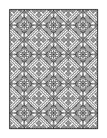 book pages: Coloring page for adults, or monochrome decorative background Illustration