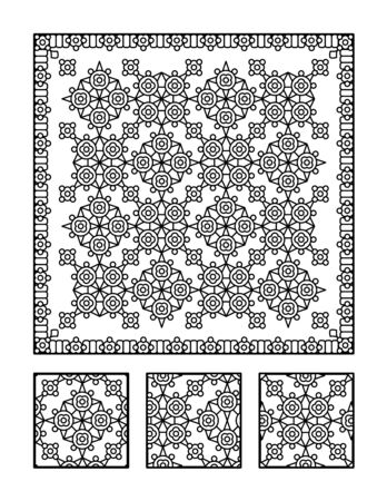 framed picture: Framed pattern coloring page for adults children ok, too and visual puzzle. Puzzle directions: find the fragment that does not belong to the main picture. Answer: middle. Illustration
