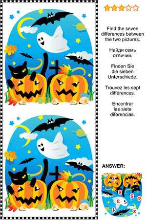 Halloween themed picture riddle or visual puzzle: Find the seven differences between the two scenes with pumpkins, bats, ghost, black cat, etc. Answer included.