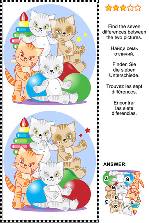 difference: Picture riddle or visual puzzle: Find the seven differences between the two pictures of four playful kittens with toys. Answer included.