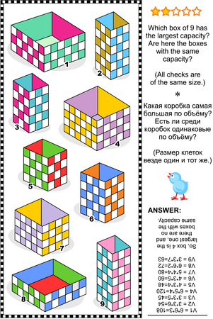 Visual math puzzle or problem: Which box has the largest capacity Are here the boxes with the same capacity Answer included.