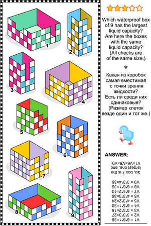 checkered volume: Visual math puzzle or problem: Which box has the largest liquid capacity Are here the boxes with the same liquid capacity Answer included.