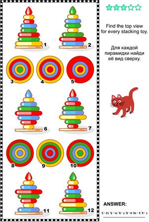 matemáticas: Acertijo matemático visual: Encontrar la vista superior para cada apilador anillo. Respuesta incluido. Vectores