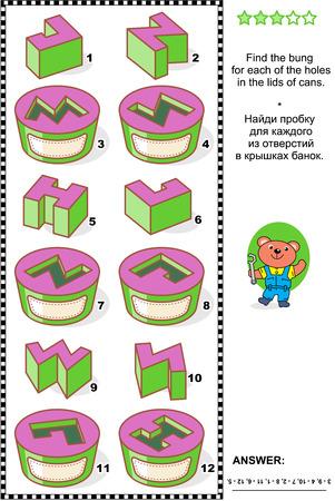 educativo: Rompecabezas mecánicos Visual matemáticas o adecuado tanto para niños y adultos: Buscar el tapón para cada uno de los agujeros en las tapas de las latas. Respuesta incluido.