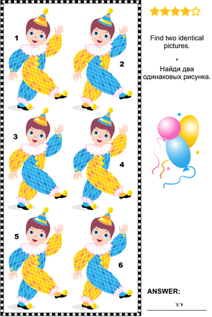 Visual puzzle: Find two identical pictures of little cheerful circus clowns. Answer included. Illustration