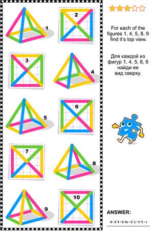 matematicas: Acertijo matemático educativo: Encuentra la visión superior por cada objeto de alambre colorido.