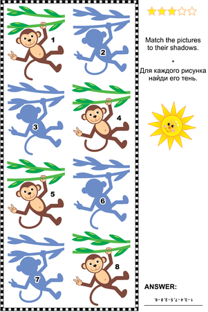 poser: Visual puzzle or picture riddle: Match monkeys hanging on liana to their shadows. Answer included. Illustration