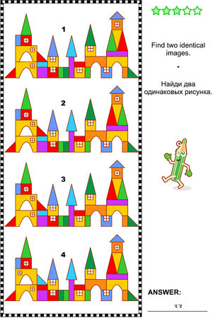 identical: Visual puzzle or picture riddle: Find two identical toy town images. Answer included.