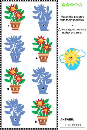 shadow match: Visual puzzle: Match the pictures of flowers in pots to their shadows. Answer included. Illustration